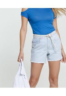 Bermuda Feminina Jeans Delavê Amarração Marisa