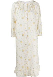 Sleeper Vestido Reto Com Estampa Floral - Branco