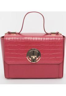 Bolsa Texturizada Em Couro - Vermelha & Dourada- 17Xjorge Bischoff