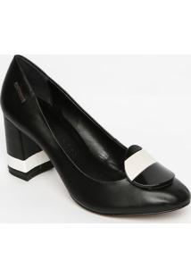 Sapato Tradicional Com Aviamento- Preto & Branco- Samorena Rosa