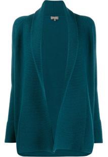 N.Peal Cardigan Canelado Com Abertura Frontal - Azul