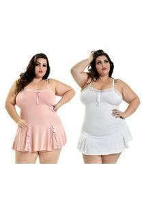 Kit 2 Camisola Plus Size Microfibra Renda Alcinha Rosê Branco