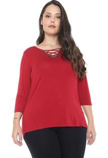 Blusa Cativa Plus Strappys Vermelha