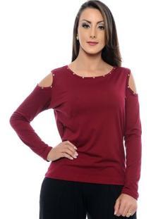Blusa Com Detalhes Em Rebites E Ombro Vazado Cindy - Feminino-Vinho