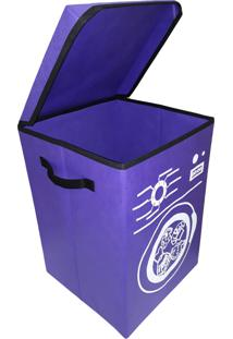 Cesto Para Roupa Suja Lavanderia Organibox Violeta