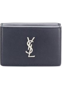Saint Laurent Carteira Monogramada Mini - Azul