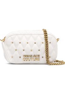 Versace Jeans Couture Bolsa Transversal Matelassê Com Tachas - Branco