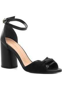 Sandália Couro Shoestock Salto Bloco Tira Feminina - Feminino-Preto