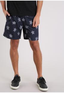 Short Masculino Estampado De Tartaruga Azul Marinho