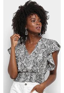 Blusa Lily Fashion Cropped Babados Feminina - Feminino-Cinza