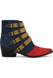 Toga Pulla Ankle Boot De Camurça E Couro - Navy/Red