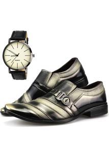 Sapato Social Neway Preto E Dourado Relógio