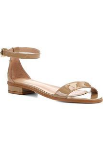 Sandália Shoestock Flat Tira Naked Feminina - Feminino-Amendoa