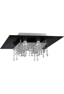Plafon De Vidro Com Cristal Para 04 Lâmpadas Preto