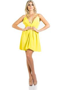 Vestido Evasê Decote Profundo Amarelo AlphorriaA. Cult 40