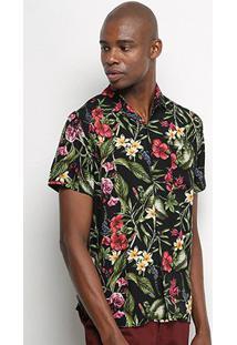 Camisa Manga Curta Pacific Blue Flowers Masculina - Masculino-Preto