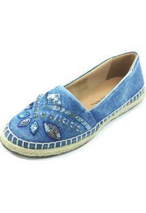Alpargata Antonietta Albany Folhas Jeans Azul