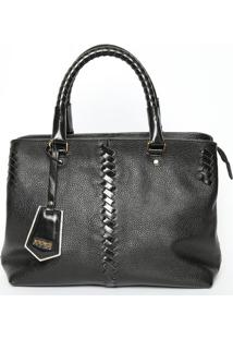 Bolsa Transversal Em Couro Com Bag Charm- Preta- 24Xiódice