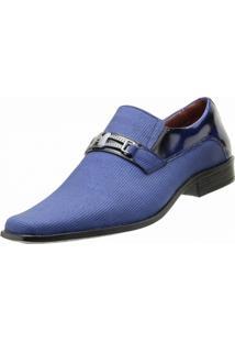 Sapato Social Goffer Pontilhado Azul