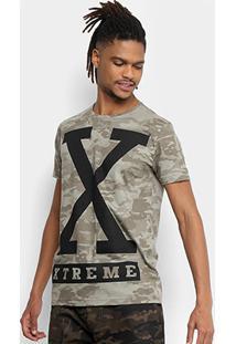 Camiseta Sideway Full Print Camuflada Masculina - Masculino-Caqui+Preto