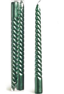Vela Natalina Enfeite Espiral Verde 25Cm Jogo Com 2 Peças