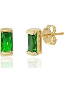 Brinco Piuka Retangular Esmeralda Folheado Ouro Feminino - Feminino-Verde