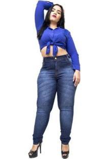 Calça Jeans Plus Size Credencial Skinny Feminina - Feminino-Azul