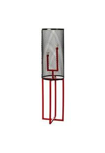 Luminaria De Chao Tube Estrutura Em Tubo De Ferro Cor Vermelho 1,29 Mt (Alt) - 53605 Vermelho