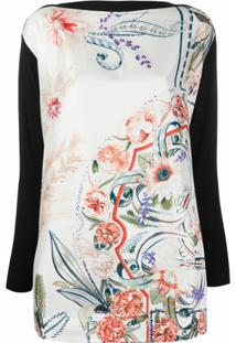 Salvatore Ferragamo Floral Panel Knitted Top - Branco