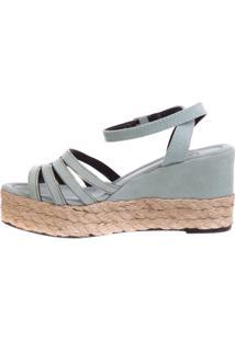 Anabela Butique De Sapatos Em Suede Verde Alga