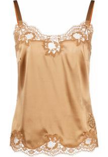 Dolce & Gabbana Blusa Com Acabamento Em Renda - Dourado