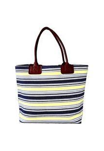 Bolsa Its! Palha Listrada Amarelo E Azul