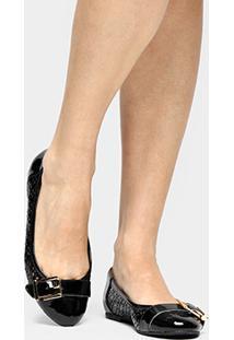 Sapatilha Shoestock Redondo Laser Lgt - Feminino-Preto