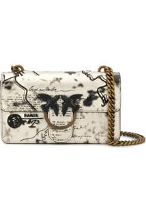 Pinko Mail Print Shoulder Bag - Dourado