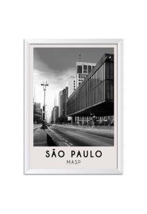 Quadro 65X45Cm Cidades Sáo Paulo Brasil Moldura Branca Sem Vidro Decorativo