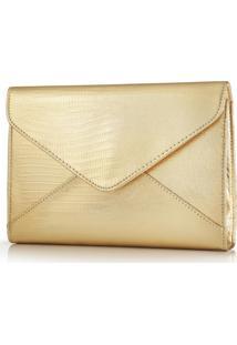 Bolsa De Mão Pvc Phyton Envelope Dourada Pvc Eudora