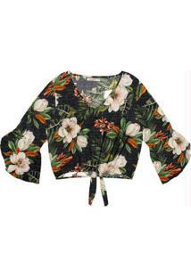Blusa Feminina Estampa Floral Endless Preto