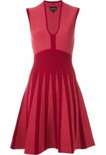 Emporio Armani Vestido Evasê Em Jacquard - Rosa