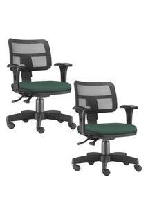 Kit 02 Cadeiras Giratórias Executivas Lyam Decor Zip Verde Musgo