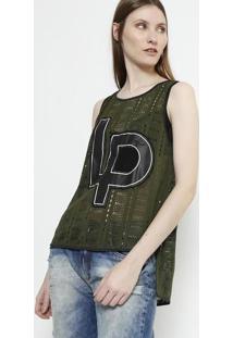 Blusa Com Recortes Vazados - Verde Escuro & Preta - Lança Perfume