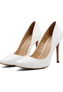 Scarpin Feminino Salto Alto Bico Fino Casual Conforto Verniz Branco