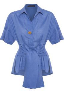 Camisa Feminina Linho Com Amarração - Azul