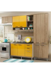 Cozinha Compacta 9 Portas 3 Gavetas Sicília Com Balcão P/ Pia 5838 Amarelo/Argila - Multimóveis
