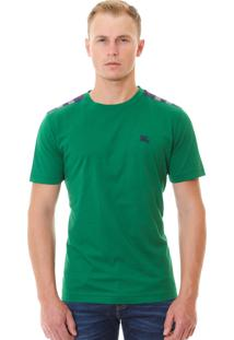 Camiseta Burberry Masculina London England Detail Tartan Verde