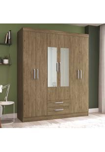 Guarda-Roupa Solteiro 6 Portas 2 Gavetas Com Espelho Rp2620/E Wood - Decibal Móveis