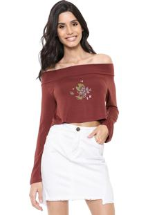 Blusa Cropped Hurley Sets Marrom