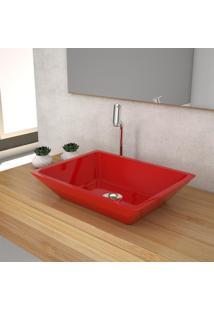 Cuba De Apoio P/Banheiro Compace Messina Rt45W Retangular Vermelha