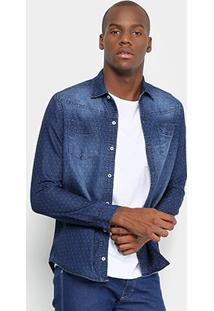 Camisa Jeans Manga Longa Preston Estonada Poá Bolsos Masculina - Masculino-Jeans