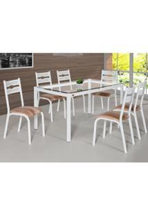 Conjunto De Mesa De Cozinha Com 6 Lugares Luna Corino Branco E Capuccino 80 Cm