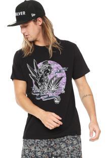 Camiseta Quiksilver Slim Fit Hot Sake Preta